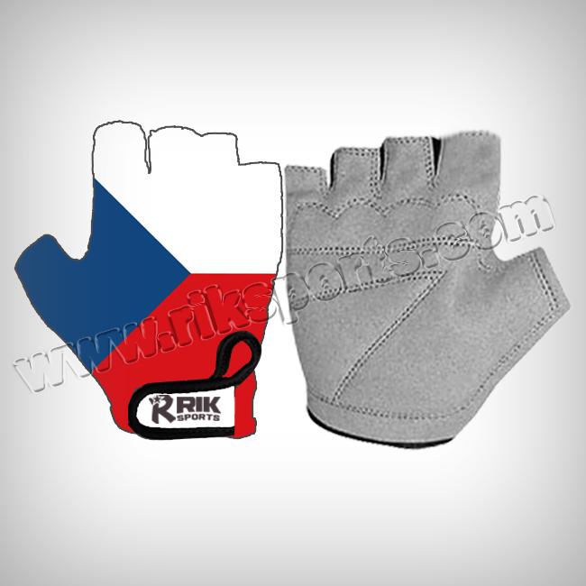 Cycling gloves flag print